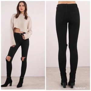 NWT Tobi After Party Black Distressed Skinny Jean